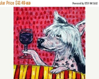 20% off storewide Chinese Crested at the Wine Bar Dog Art Tile Coaster Gift