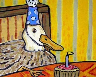 20% off storewide Duck Birthday Animal Art Tile Coaster gift