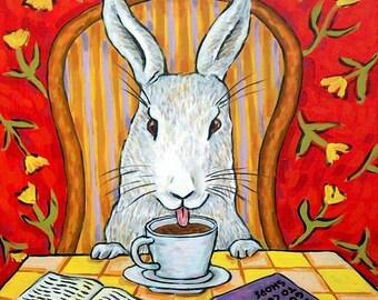 20% off bunny  coffee rabbit art tile coaster modern impressionism gift new