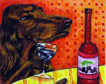20% off Irish Setter at the Wine Bar Dog Art Tile Coaster