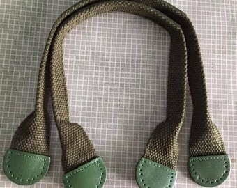 1 pairs of Dark Green Genuine Leather On Green Cotton Webbing Handbag Handle Bag Supply