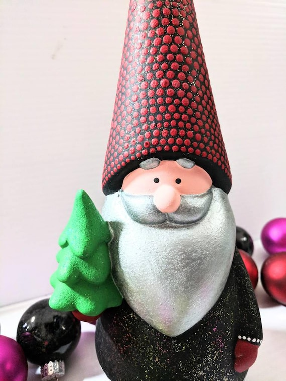 Gnome hand painted ceramic gnome figurine with green tree black glittery Christmas gnome holiday