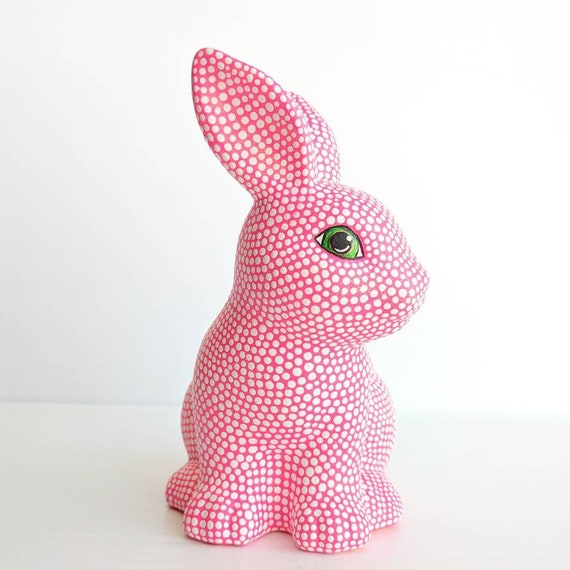 Cute ceramic bunny neon pink with white dots pink and white bunny
