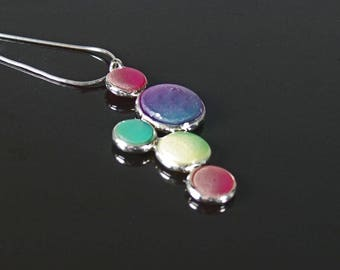 Sterling silver and polymer clay pendant, rainbow bubbles