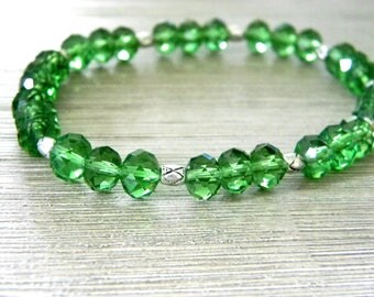 Green Glass Stretch Bracelet with Silver Colored Beads