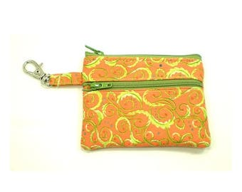 Summer Clearance Small Zippered Wallet Change Purse Gadget Case  Orange with Lime Green Swirls
