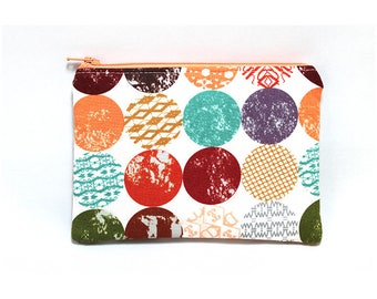 Cosmetic Case, Cord Case, Bridesmaid Gifts, All-Purpose Zipper Case, Mod Dots 9051