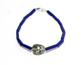 HALF PRICE SALE Dia de los muertos skull beaded stacking layering bracelet