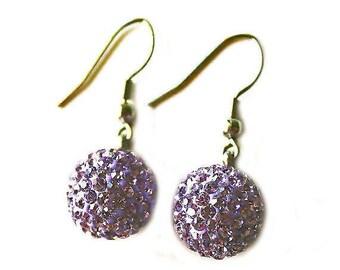 HALF PRICE SALE Lilac purple crystal ball dangle silver earrings Clearance