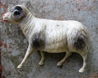 Vintage Celluloid Ram, Sheep, Putz Sheep