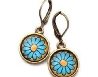 Blue Daisy Flower Glass Photo Earrings  Nickel Safe