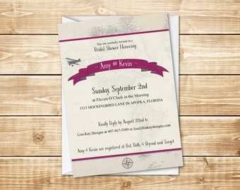 PRINTED Vintage Map 5x7 Travel Bridal Shower Invitation with vintage plane, banner, and compas in burgundy and tan; includes white envelope