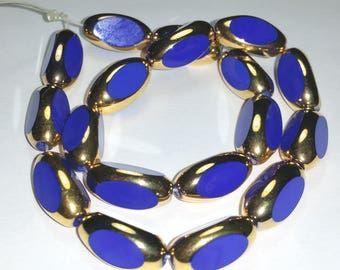 Vintage Blue Beads with Gold Edges 15mm Glass Three Sided Shape 18 Pcs.