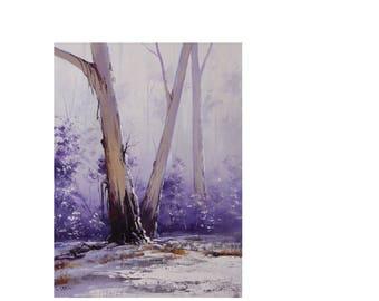 Trees painting winter painting  snow  painting winter scene by award winning artist Graham Gercken