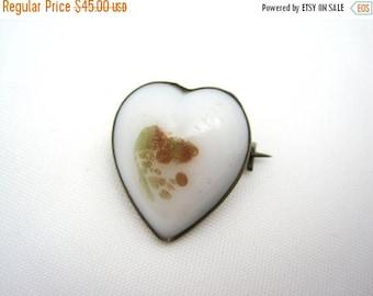 OnSale Antique Victorian Heart Brooch - Venetian Art Glass