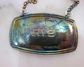 Vintage Rye Liquor Label - Silver Plate Decanter Label