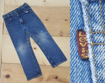 Vintage Kids Jeans  // Vtg 70s 80s Child Sized LEVI'S Made in the USA Distressed Faded Denim Jeans