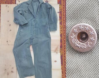 Vintage Coveralls // Vtg 40s 50s Military Olive Army Distressed Trashed Cotton Canvas Coveralls w/ Star and Wreath Donut Buttons