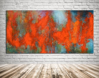 Red blue abstract painting, modern red blue painting, vibrant red original art, red canvas, long panoramic wall decor, red painting