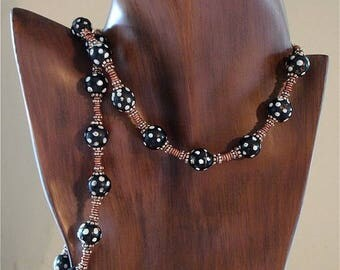 OnSale Necklace African Trade Beads 18th Century Black and White
