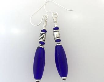 Cobalt Glass Safe Pewter And Sterling Silver Earrings  (pw)