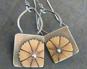 Rustic-Handmade- OOAK-Sterling Silver- Brass- Artisan- Flower-Earrings.