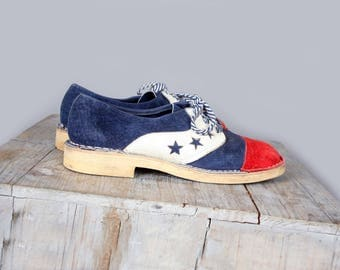 1960's Red White & Blue Suede Shoes Vintage Hippie Style Size 6.5  - Stars, Bohemian, leather