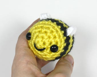 Crocheted Bee Amigurumi Plushie - Baby Bumblebee Plush - Ready to Ship
