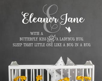 Girl's Room Decor - With a butterfly kiss and a ladybug hug - Girl's Name - Nursery Wall Decal - Personalized Decor - Wall Sticker Quote