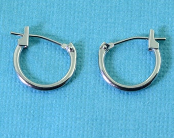 11mm 14k Solid White Gold Petite Hoop Earrings Earwires