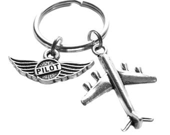 Pilot Airplane Charm Keychain Bag Luggage Charm Flight Attendant Gift