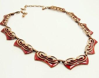 Vintage Matisse Necklace Red Enamel On Copper