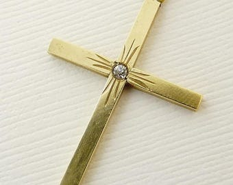 Vintage Art Deco Gold Filled Cross Pendant Necklace