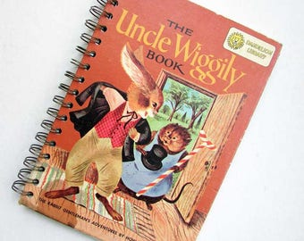 Notebook, Journal. Recycled Book Journal, Vintage Book Journal, Sketchbook, Blank Book, Uncle Wiggily & Thornton Burgess Stories