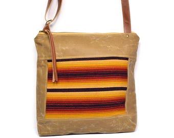 crossbody bucket bag • honduran textile - waxed canvas - large crossbody bag • striped handwoven cotton - honduras - global textiles