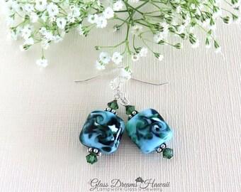 Glass Dangle Earrings, Sky Blue Earrings, Handmade Lampwork Glass Earrings, Fashion Jewelry, Boho Earrings, Dangle Earrings