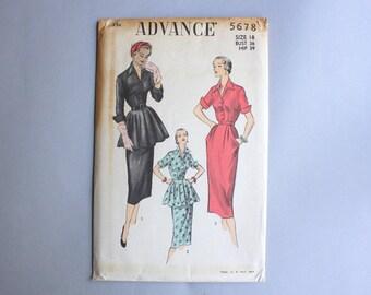 1950s Sewing Pattern / Vintage Advance Pattern / Uncut FF Peplum Dress Pattern Fitted Pencil Skirt 5678 30 waist large sz 18