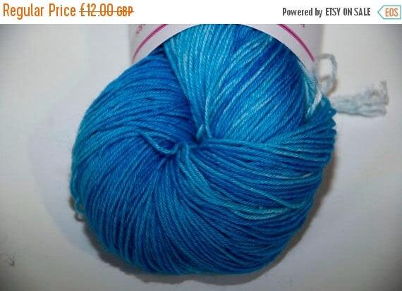 Christmas In July Hand-Dyed Yarn in Summer Skies Colourway Sock Yarn Superwash Wool/Nylon Tootsie Base