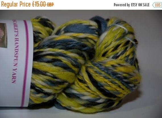 Christmas In July Merino Handspun Yarn in Shades of Yellow, Grey and Black 95g/134yds