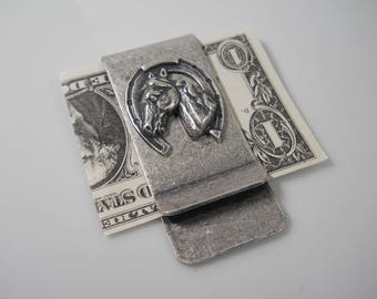 Lucky Money Clip Mens Gift Moneyclip Silver with Lucky Horseshoe Gift for Him Horse Sterling Silver Plated Bill Holder Money Keeper Handmade