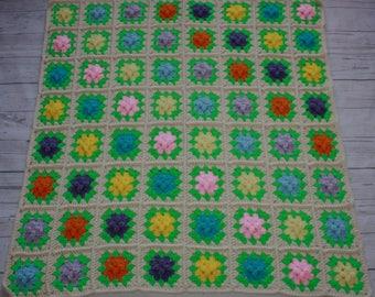 Raised flower afghan, blanket, crochet, baby girl gift, crochet blanket, granny squares