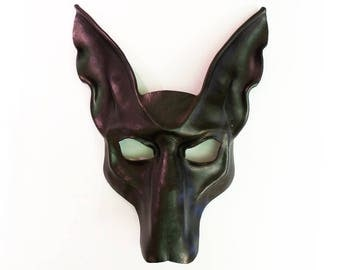 Black Jackal Pharaoh Hound Leather Mask    Anubis Egypt Egyptian Dog  lightweight and easy to wear