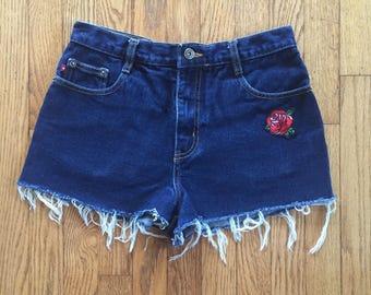 Vintage 90s Dark Denim High Waist Denim Cut Off Rose Embroidered Patch Shorts - 31 inch waist