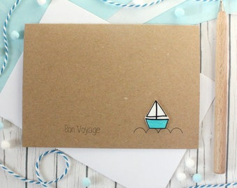 Personalised Goodbye Card Bon Voyage Card Leaving Card Sailing Boat Card Going Away Card for Gap Year Card Handmade Card Sail Boat Card Bye