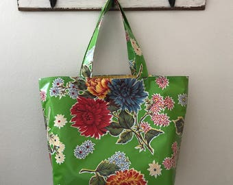 Beth's Big Green or Blue Mum Oilcloth Market Tote Bag