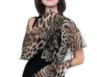 Promo Sale: Animal Print Silk Chiffon Fluttering Scarf Wrap Shawl