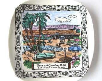 1960s Souvenir Plate from the Town and Country Hotel San Diego / Retro Style / Palm Trees / Small Trinket Dish / Ring Plate Sunny San Diego