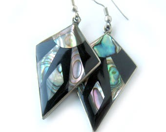 Vintage Boho Earrings Mexican Alpaca Silver with Mother of Pearl Shell Inlay / Dangling Pierced Earrings