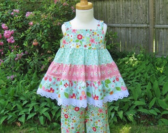 Toddler girl, size 3T, Twirly tiered top, Ruffled capris, Green and pink, summer outfit, two piece outfit, Ready to ship, OOAK,  Mod Flowers