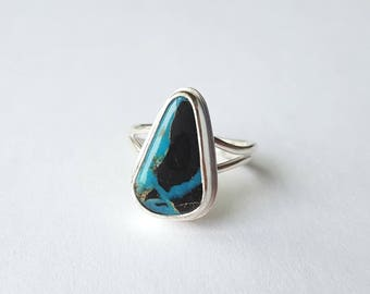 Blue Apache Turquoise Ring Unique Turquoise Ring Sterling Silver Ring Unique Stone Ring Southwest Turquoise Ring Teardrop Ring